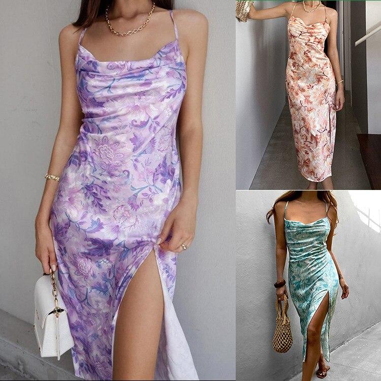 European and American style sexy print suspender dress summer new slim slit open back temperament skirt