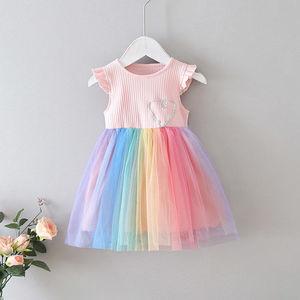Colorful Heart  Girls Dresses 2021 Summer New Rainbow Mesh Sleeveless Vest Princess Party Children Clothing