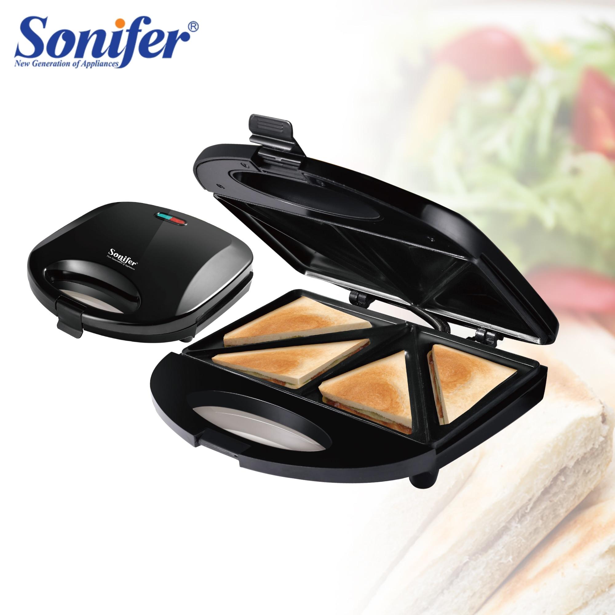 صانع الساندوتشات الكهربائية نخب أجهزة مطبخ الطبخ السندويشات الصحافة آلة الإفطار الوافل وعاء الحديد مقلاة خبز Sonifer