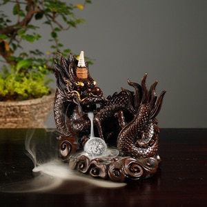 Desktop Decor Gift Resin Chinese Dragon Backflow Incense Burner with Crystal Ball +20Pcs Free Incense Cones
