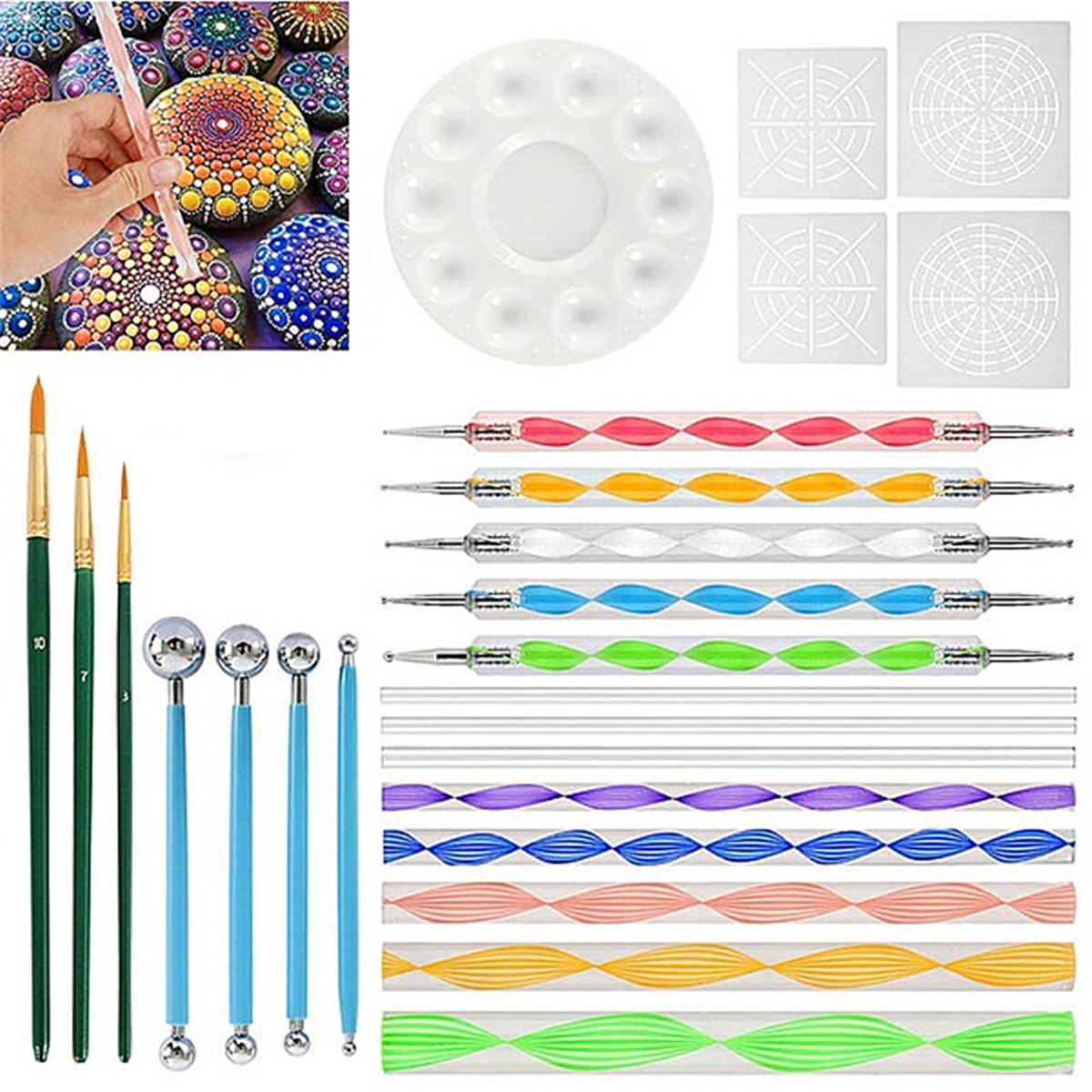 25 uds Mandala herramientas de punteo para pintar rocas pintura de Mandala Plantilla de punteo punto Mandala Kit de arte de pared de tela de roca de uñas