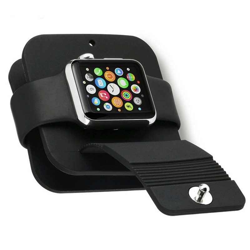 Cable básico de carga de silicona para Apple watch 4 3 2 1 banda enrolladora soporte Dock Cable Holder Wallet para iwatch 38MM 42MM