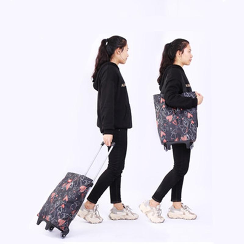 Folding Storage Bag High Capacity Shopping Food Organizer Trolley Bag On Wheels Bags Portable Shopping Bags Buy Vegetables Bags