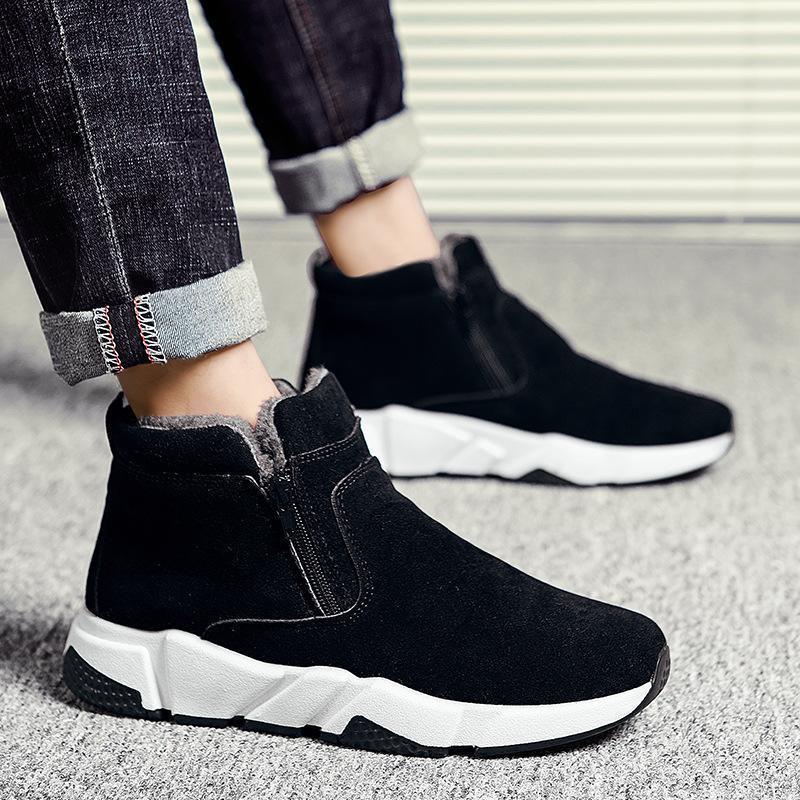 Мужские зимние ботинки, Высококачественная плюшевая мужская обувь на толстой подошве из хлопка, зимние теплые мужские зимние ботинки, улич...