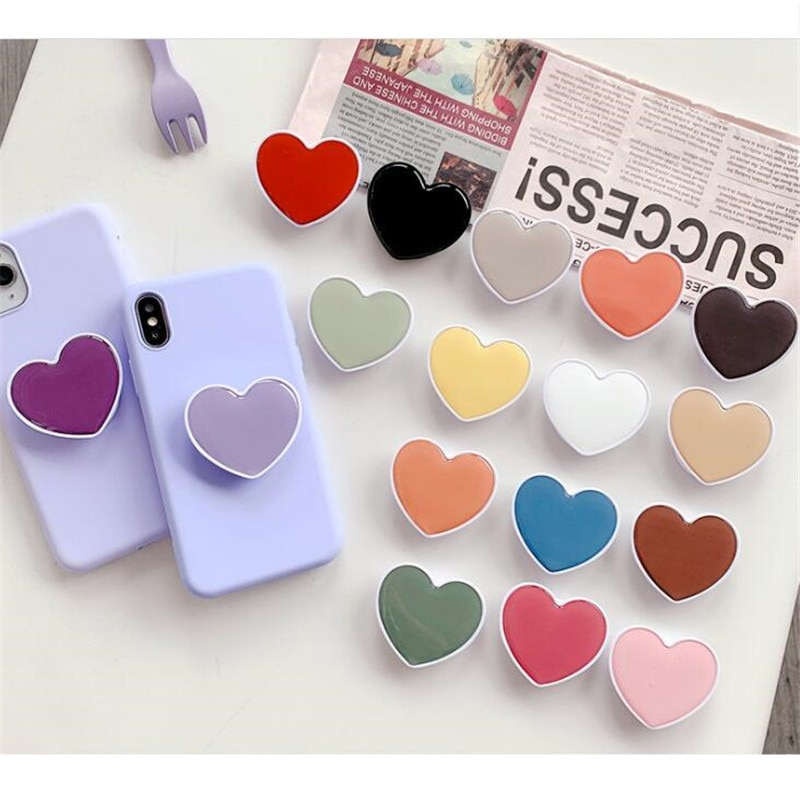 Heart Candy Color Expanding Stand Mount Mobile Phone Bracket Cute 3D Airbag Phone Stand Finger Holde