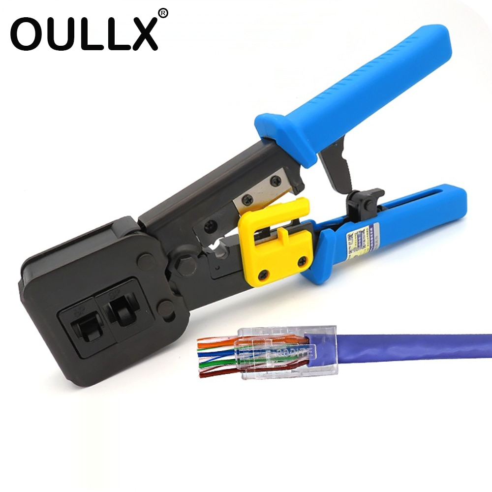 OULLX RJ45 المكشكش اليد أدوات الشبكة كماشة RJ12 cat5 cat6 8p8c مقشر كابل الضغط المشبك ملقط كليب متعددة الوظائف