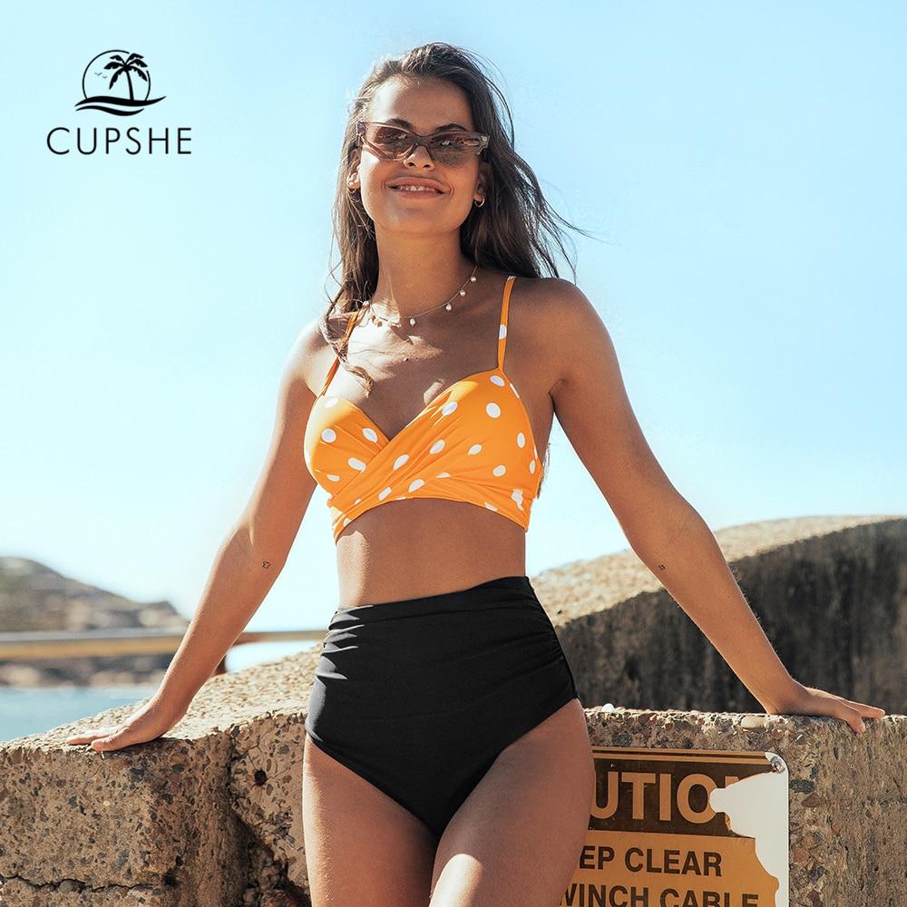 CUPSHE Push Up Hohe Taille Bikini Sets Sexy Gelb Polka Dot Spitze Up Badeanzug Zwei Stück Bademode Frauen 2021 Strand badeanzug Body Suits    -