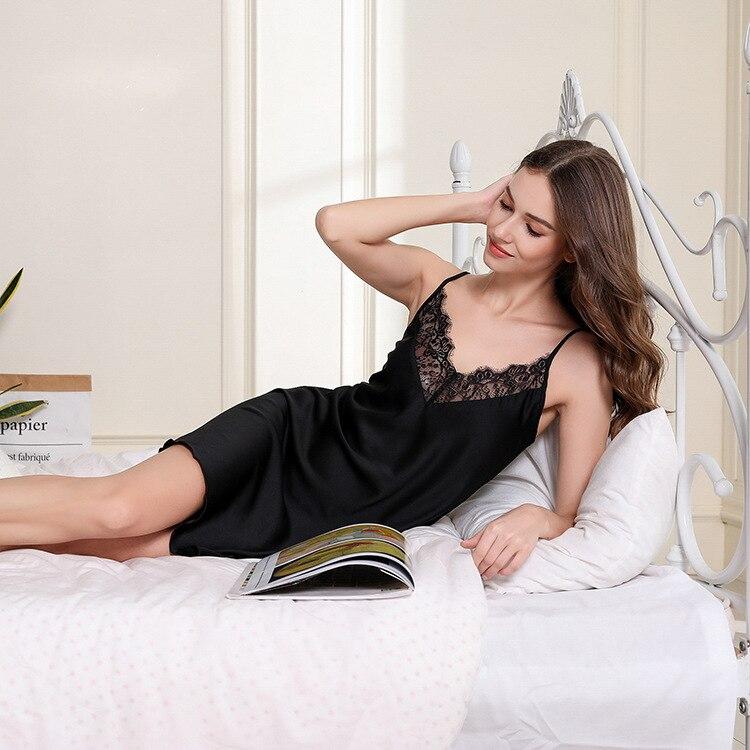Camisón femenino vestido de noche de satén encaje Sexy Suspenders falda ropa de dormir ropa de casa Casual Spaghetti Correa ropa de casa