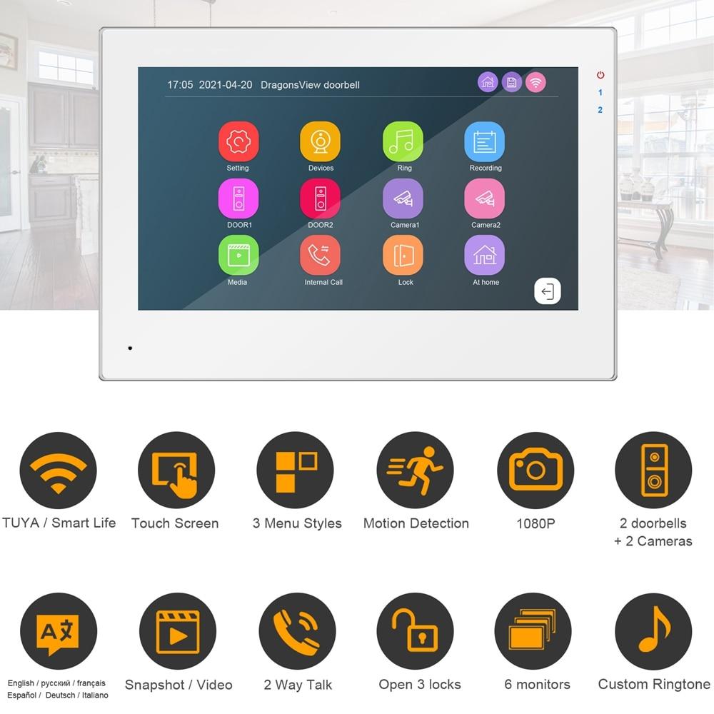 TUYA WIFI Video Intercom for Home Video Door Phone Touch Screen 1080P Keypad Doorbell Camera Password RFID Unlock Access Control enlarge