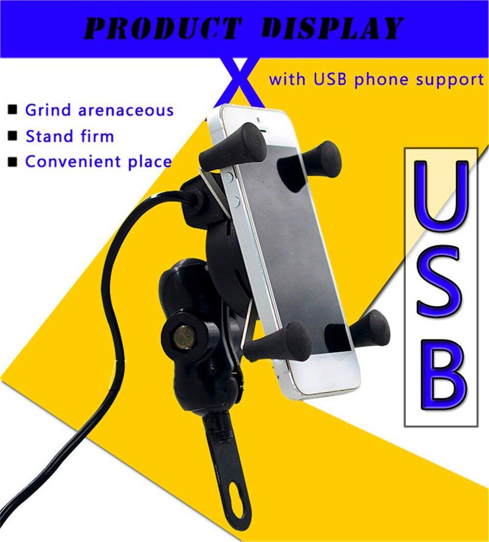 Suporte universal do telefone do ciclo do motor do suporte de gps do telefone móvel da montagem 360-3.5 6.3 da rotação de Polegada graus com porta do carregador de 5v usb
