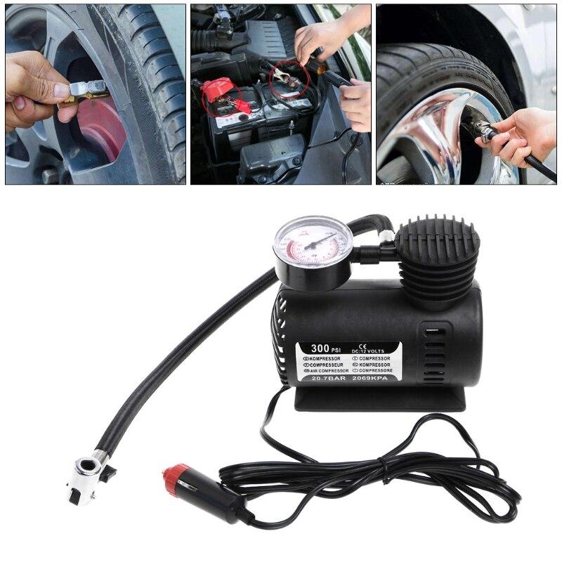 1 Pza. 300 PSI 12V, Mini compresor de aire portátil para coche, Inflador de neumáticos eléctrico con indicador