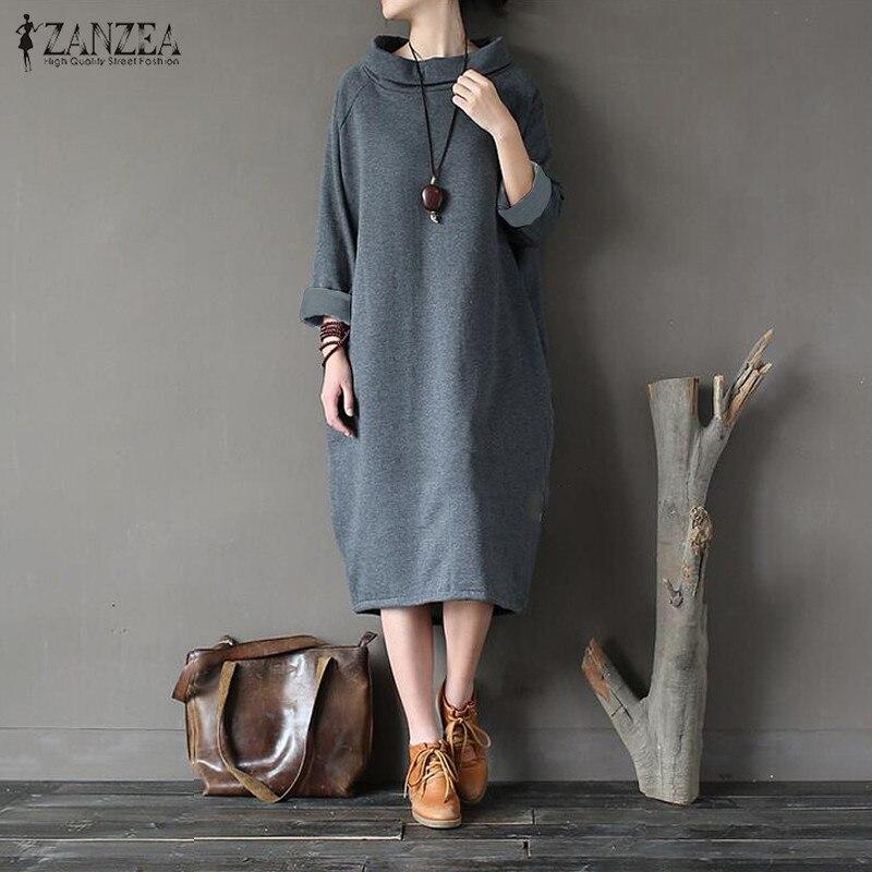 Jersey de talla grande ZANZEA de invierno 2020 con forro polar, Vestido de otoño para mujer, Vestido holgado informal de manga larga con cuello alto liso