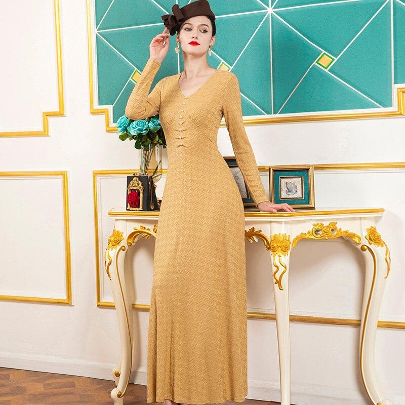2021 ربيع الخريف النساء فستان مكتب سيدة الخامس الرقبة فساتين أزرار الأصفر فستان طويل سترة فستان DZ1384
