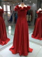 red a line prom dress sexy with zipper long satin formal evening party gown