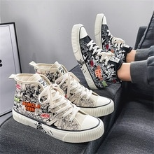 Fall/winter new style men's graffiti high-top canvas shoes, student hip-hop shoes, fashion casual me