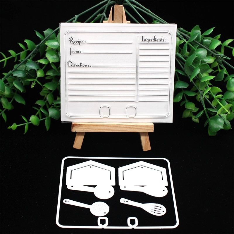 KSCRAFT Recipe Memory Dex Stamp and Metal Cutting Dies for DIY Scrapbooking/Card Making/Kids Fun Decoration Supplies
