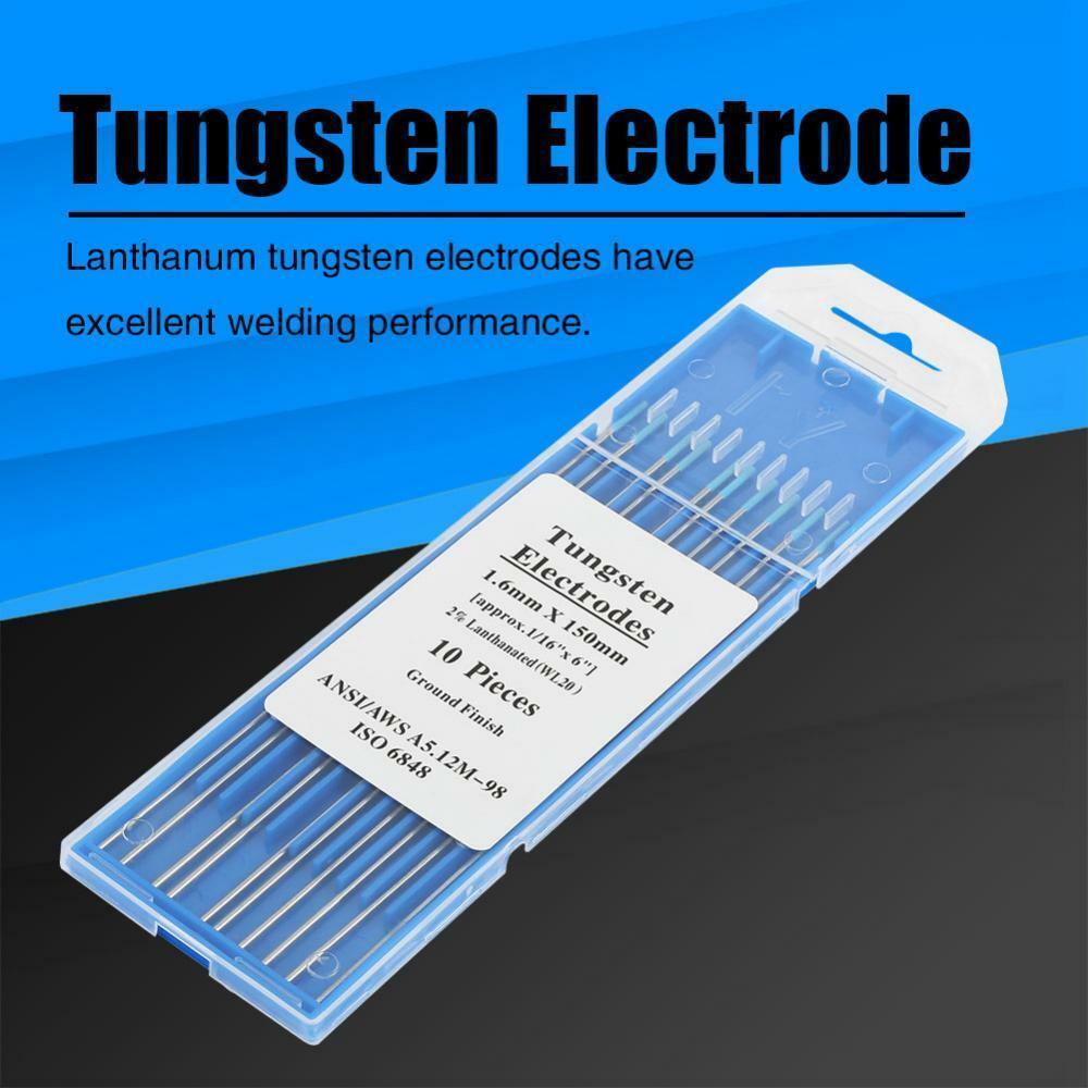 WL20 10 Piece Blue 1.6mm*150mm 1/16''x6'' Lanthanated Tungsten Electrode Head Tungsten Needle For Welding Machine