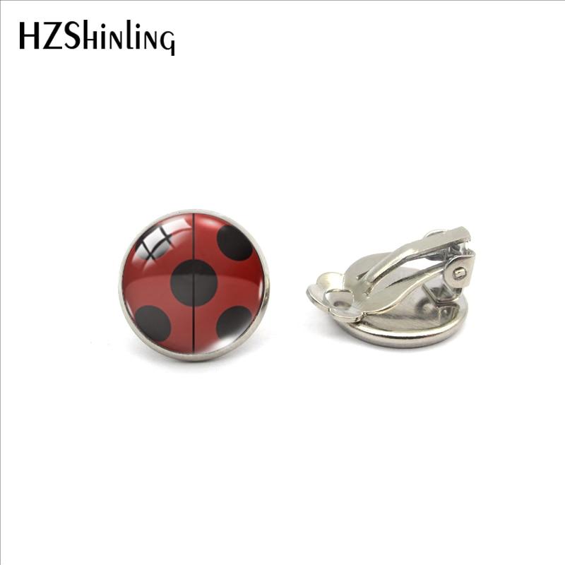 2020 New Arrival Laddybug Insects Cartoon Glass Clip Earrings Cute Ladybugs Jewelry No Pierced Earri