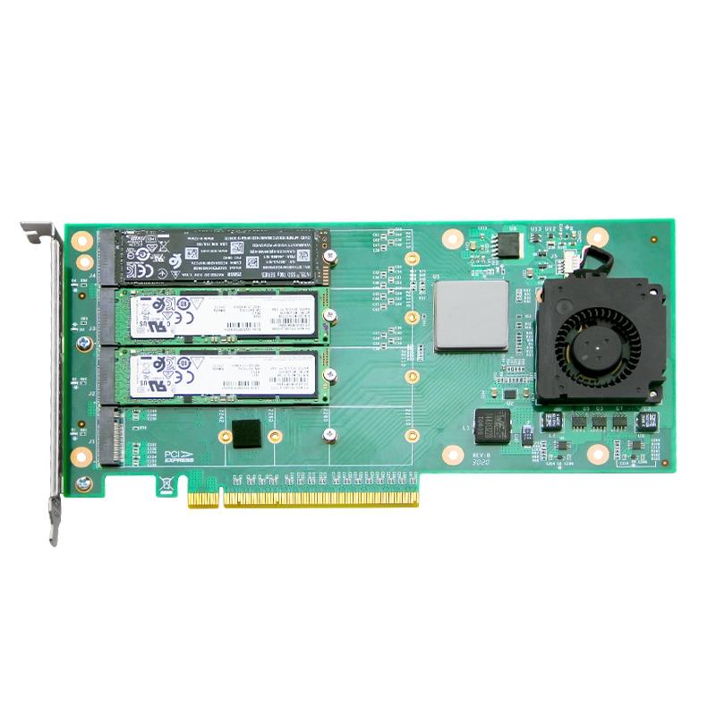 M.2 مفتاح SSD بطاقة exp ANM24PE16 رباعية المنفذ PCIe3.0 X16 مع وحدة تحكم PLX8724