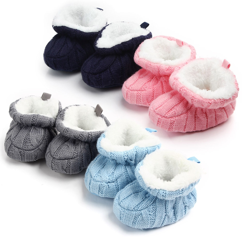 Infant Crochet Knit Baby Shoes For Boys Girls Winter Warm Newborns Soft Soled Footwear First Walkers Toddler Crib Boots boots tiflani 10924830 baby shoes footwear of boys and girls for kids