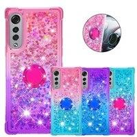 for lg velvet 4g 5g liquid glitter finger ring phone case for lg g9 velvet 5g case soft silicone stand cover fundas capa coque