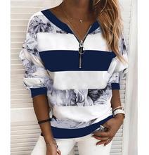 Chemisier à manches longues pour femmes, chemise à rayures, bloc de couleur, imprimé col en V, haut basique, bleu, jaune, rose
