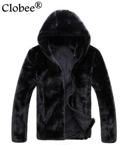 Hot vender 2019 Vetement inverno Homens casaco preto Peludo da pele do falso pele de coelho Macio e confortável grosso com capuz jaqueta masculina casaco de pele