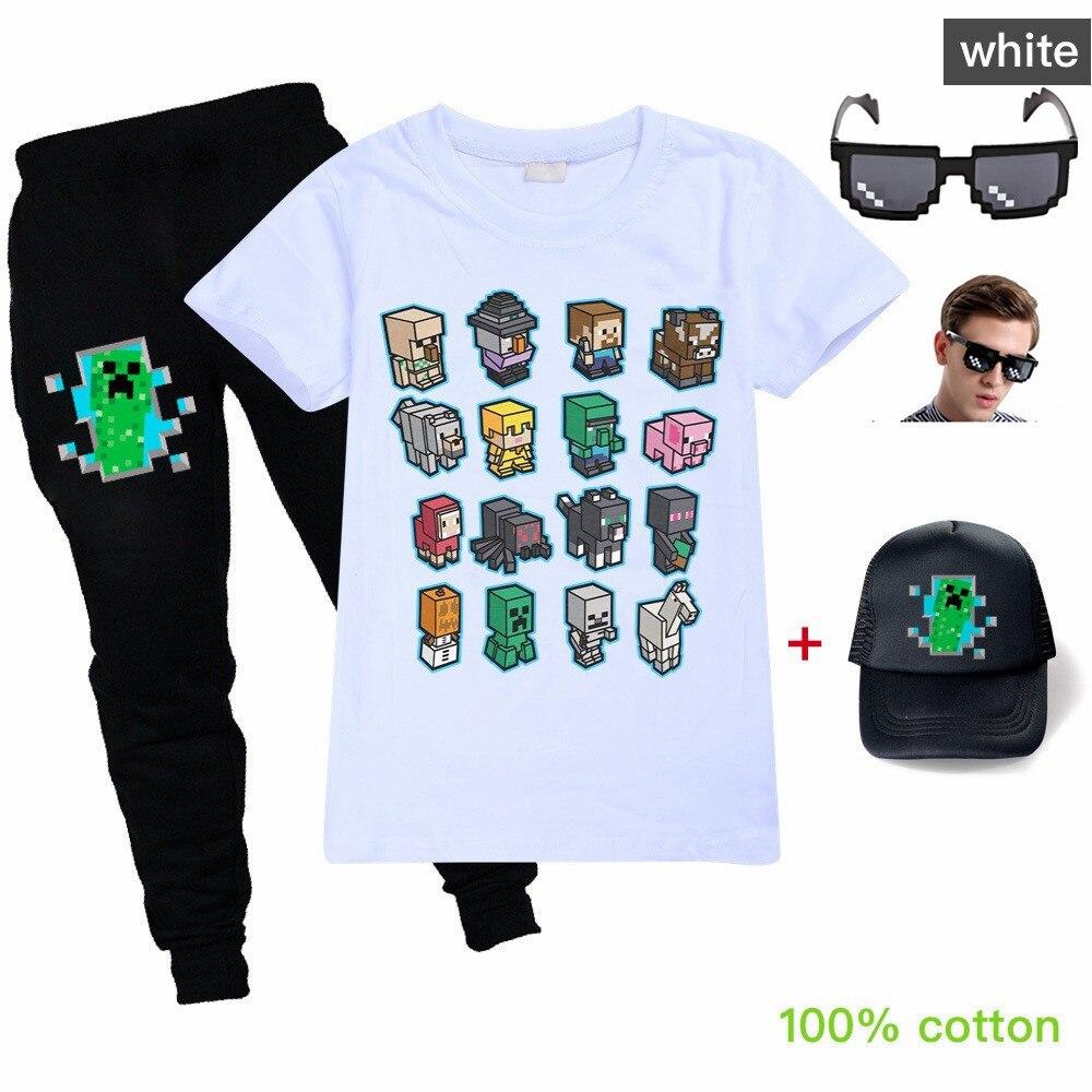 Disfraz de Cosplay de Anime Minecrafting, camisetas de verano para niñas, pantalones de camiseta para niños, conjuntos de ropa con patrón de juego de dibujos animados