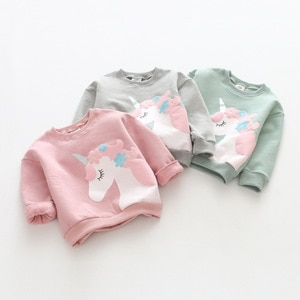 Girls Long Sleeve Cute Unicorns Pattern T-shirt Children's Clothes Fashion Soft Sweatershirt Kids T-shirt 2021 Spring Autumn