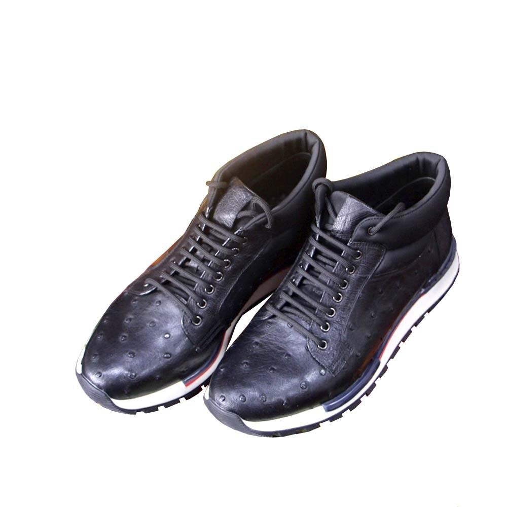 Ousidun النعامة جلد الرجال النعامة الأحذية كوريا طبعة الاتجاه حذاء رجالي الترفيه الدانتيل متابعة هايت قطع الأحذية جلد طبيعي