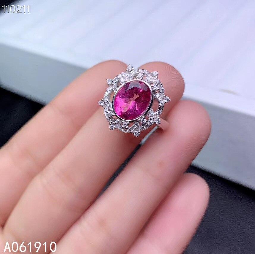 Anillo de topacio Rosa Natural con incrustaciones de plata de ley 925 de joyería fina para mujer
