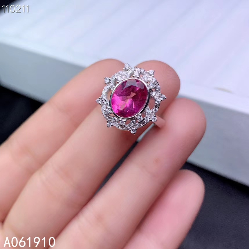 Kjjeaxcmy jóias finas 925 prata esterlina incrustada natural rosa topázio anel feminino na moda apoio detecção popular