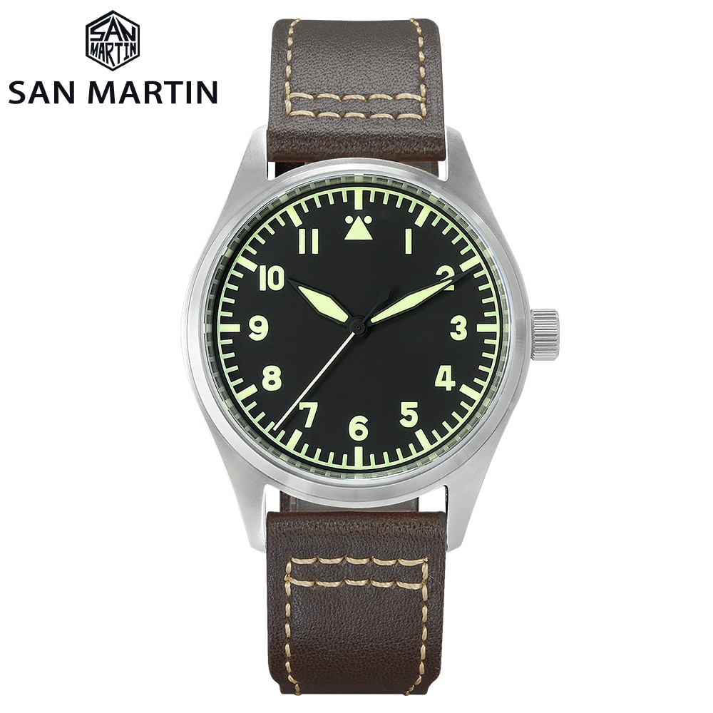San Martin Pilot Military Luxury Watch Men Simple Style Mechanical Quartz Retro Leather Strap Water
