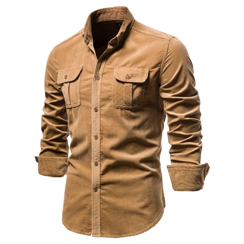 2020 New Single Breasted 100% Cotton Men's Shirt Business Casual Fashion Solid Color Corduroy Men Shirts Autumn Slim Shirt Men