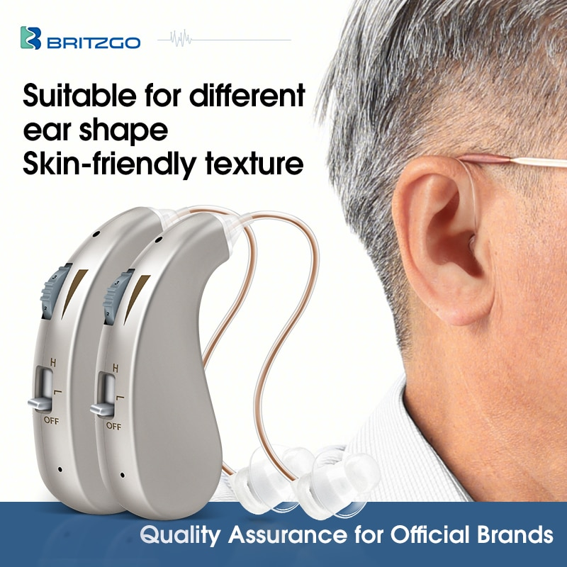Britzgo Hearing Aids Rechargeable Digital Bha-203 for Hearing Loss Patient Elderly, Wear on both ears, 2pcs, 8 Grams
