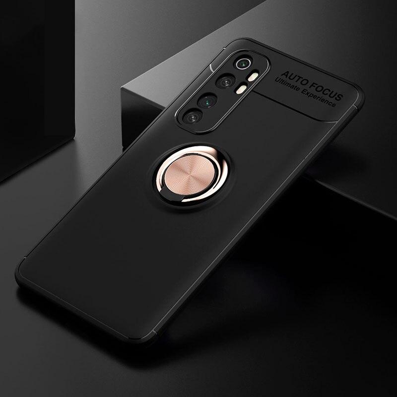Caixa do telefone para Xiaomi Mi Nota 10 Lite Caso Anel Titular Suporte de Metal Magnético À Prova de Choque TPU Soft Case para Xiaomi mi 10 Pro Lite