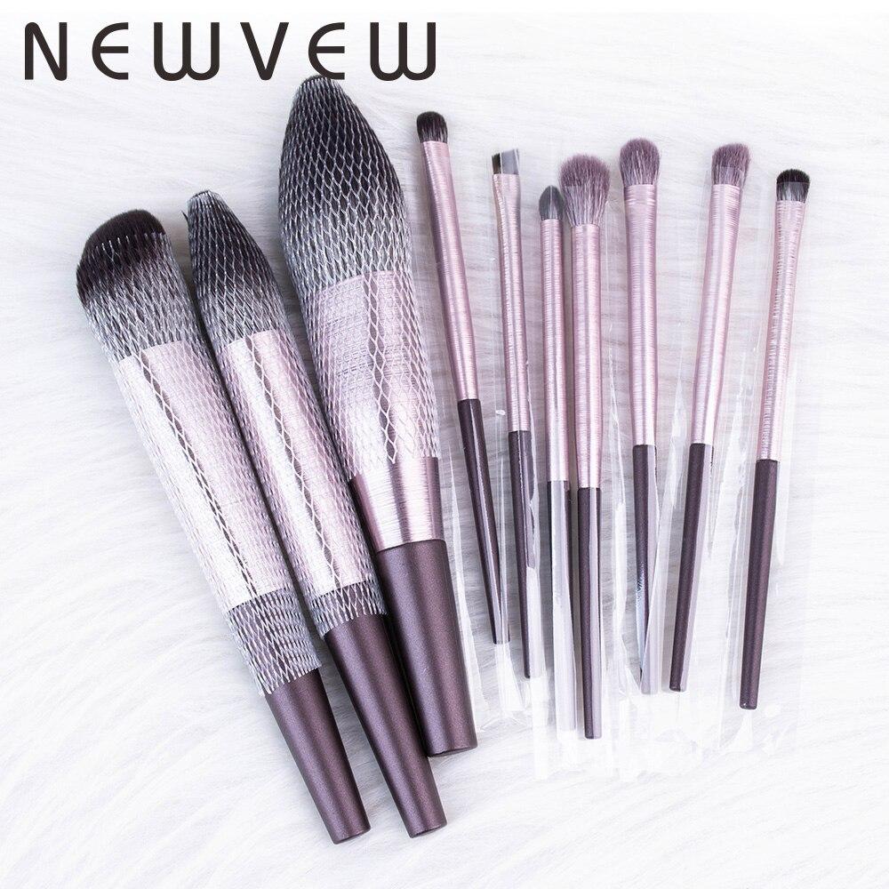 Newvew 10 pçs pincéis de maquiagem pincel de maquiagem para os olhos conjunto de sombra de olho mistura escova de sobrancelha cabelo natural kit de ferramentas cosméticas essenciais