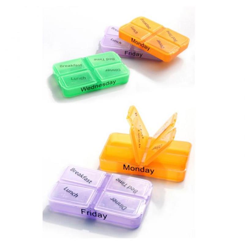 7days pill box Tablet Sorter Medicane weekly storage Drugs Container Pill splitters Medicinebox holder organizer