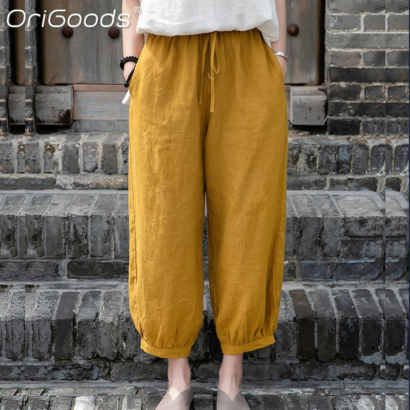 OriGoods 2021 New Summer Cropped Pants Women Solid White Beige Linen Pants Cool Casual Cute Capri Tr