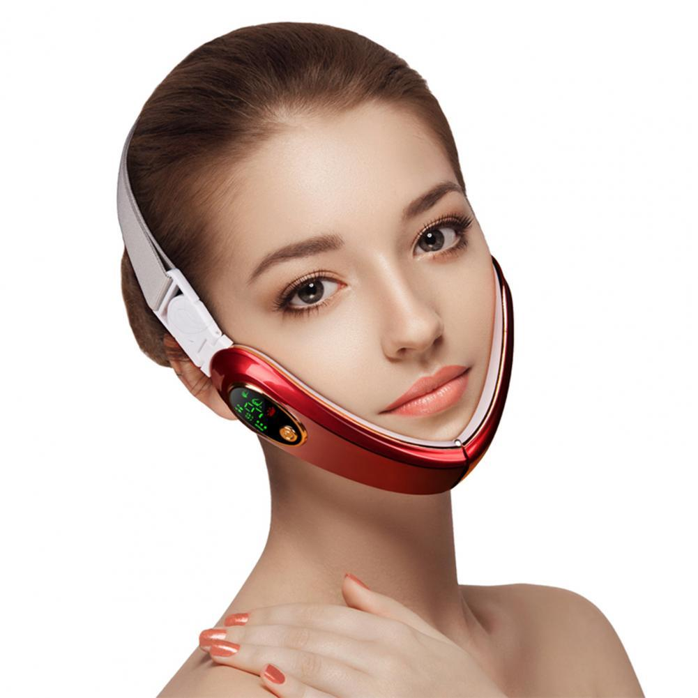 50% Hot Sale 1 Set Face-lifting Device Folding Design Voice Broadcast Portable Electric V-Face Shaping Massager