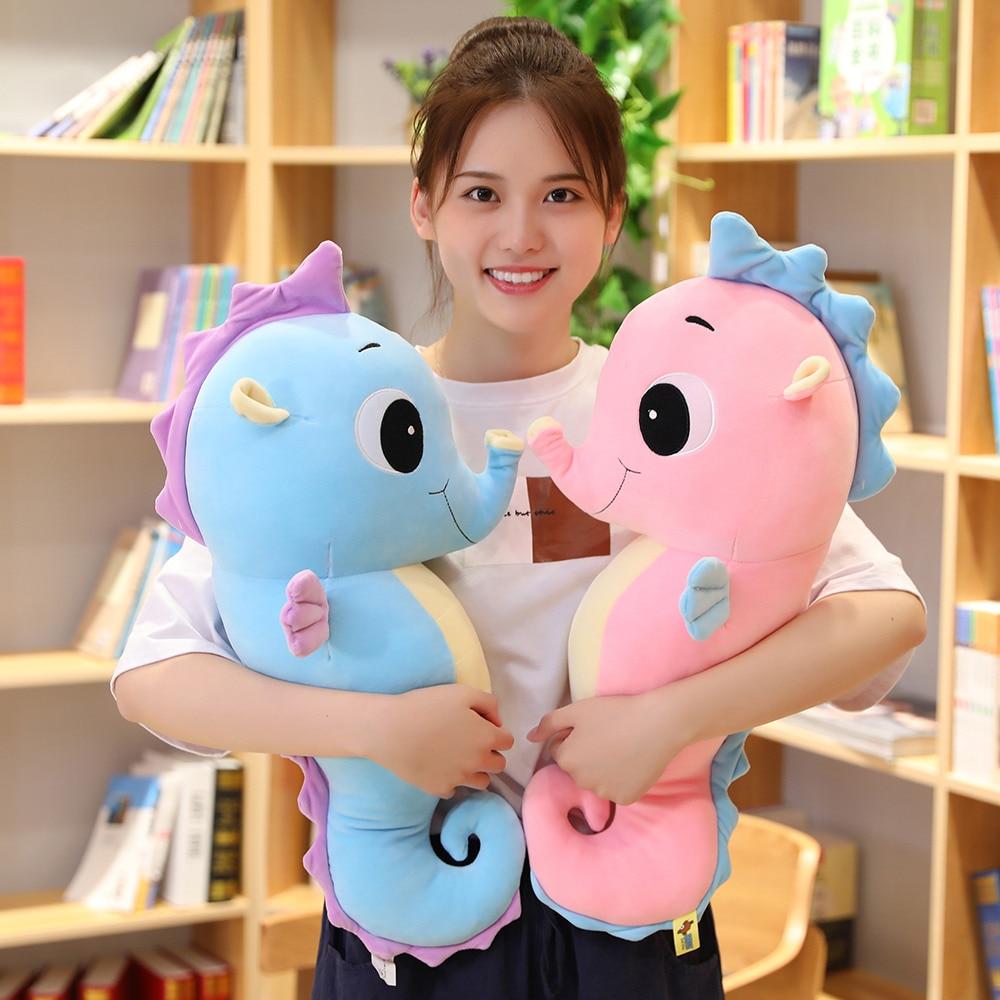 Bonito muñeco de caballito de mar de colores suaves, almohada para dormir para niños, juguetes de peluche y peluche, regalo de cumpleaños para bebés, regalos de navidad