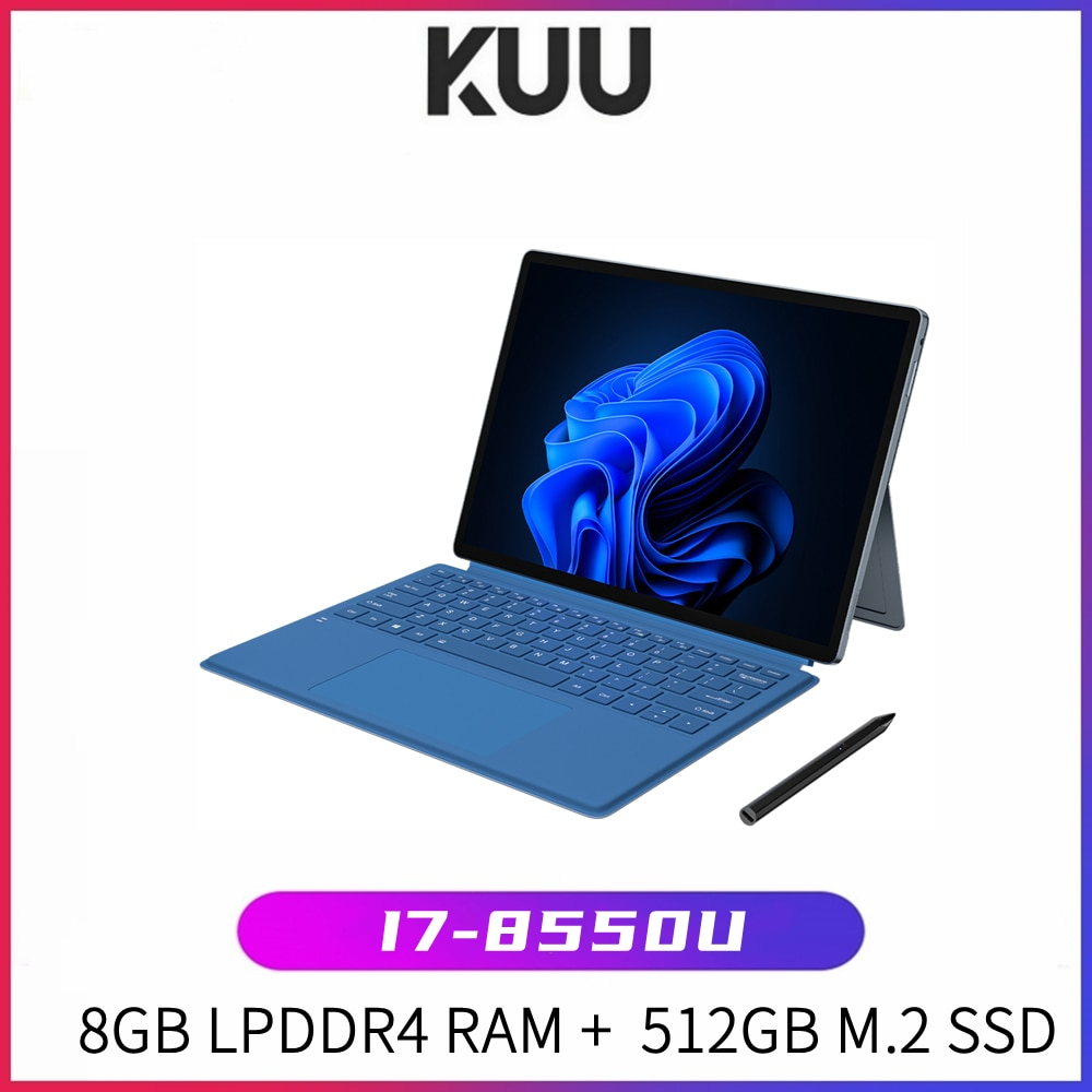 KUU Lebook Metal I7-8550U touch 2K screen two-in-one laptop tablet Win10 Type-C magnetic backlit keyboard capacitive pen