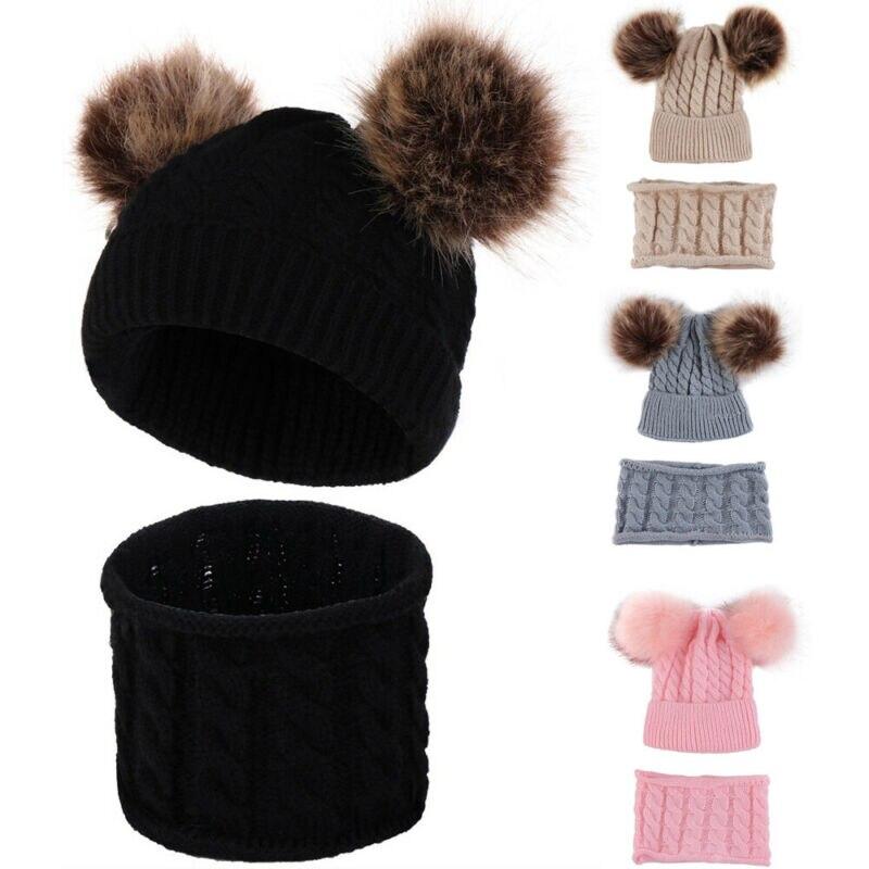Conjunto de bufanda de invierno para niños de 0 a 2 años, niñas, niños, algodón, pompones, patrón de giro, Color sólido lindo sombrero Unisex
