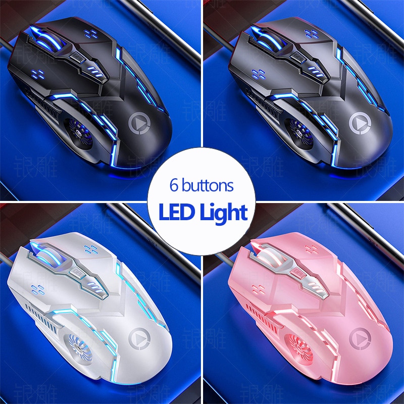 6 buttons Wired Mouse Coloful LED Light Gaming Mice Silent PC Computer USB Mause Optical 6D Mechanical Mouse 3200dpi
