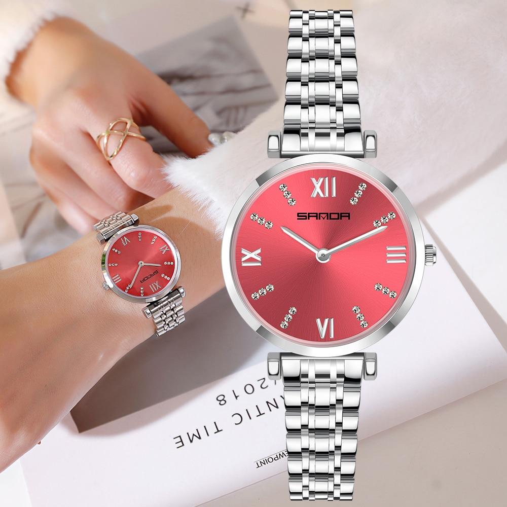 Sanda Toevallige Vrouwen Quartz Horloge Japan Beweging Fashion Rvs Waterdicht Dames Quartz Horloges Montre Femme