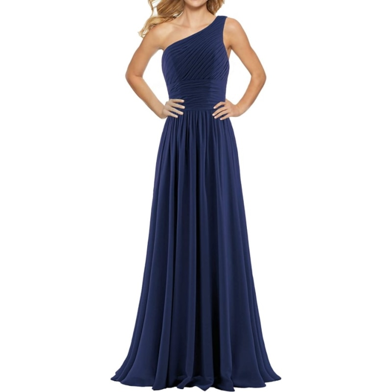 9657# One Shoulder A-Line Sweep Train Chiffon Lace-up Backless Bridesmaid Dress Evening Dress for Ladies' Party Dress