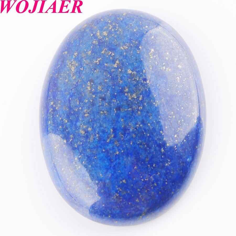 Cabina de cabujón WOJIAER Natural lapislázuli gemas ovaladas sin agujero de taladro 30x40x8mm fabricación de joyas 10 Uds PU8112