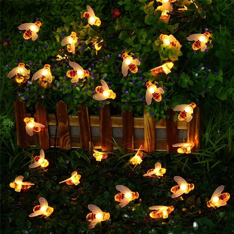 New Solar Powered Cute Honey Bee Led String Fairy Light 20leds 50leds Bee Outdoor Garden Fence Patio Christmas Garland Lights enlarge