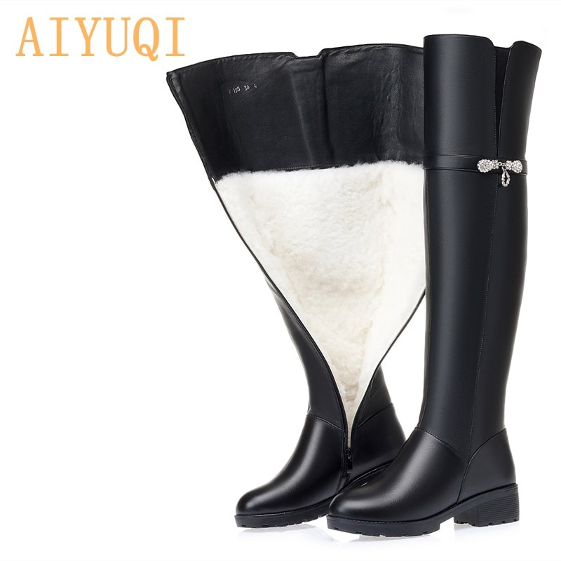 AIYUQI الشتاء أحذية النساء الركبة عالية أحذية طويلة جلد طبيعي مقاوم للماء النساء الفخذ أحذية عالية كبيرة الحجم المرأة الأحذية
