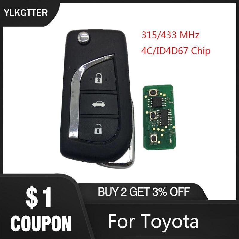 YLKGTTER 3 кнопки флип умный дистанционный ключ для Toyota Aygo Corolla Yaris Camry Verso с 315/433 МГц 4D67 ID67 транспондер чип